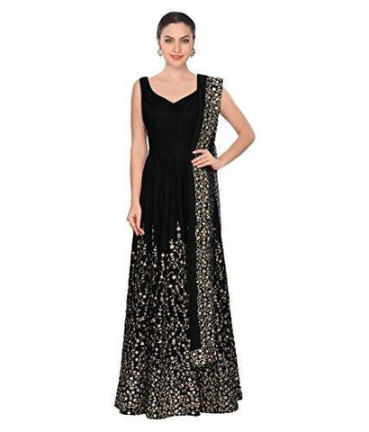 Black Color Taffeta Silk Semi Stitched Gown - MC-BLACK-TAFFETA