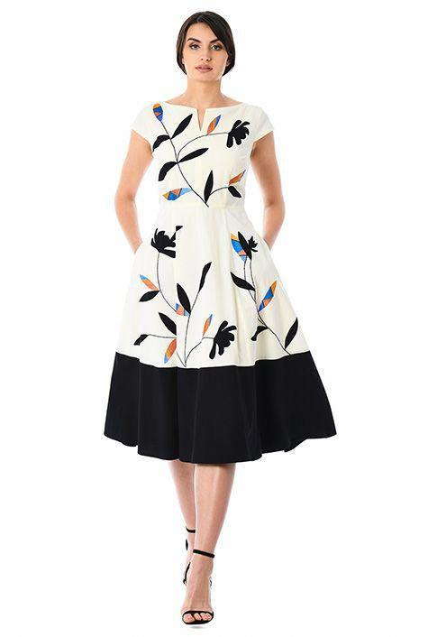 Buy White and Black Color Poly Rayon Cotton Semi Stitched Dress