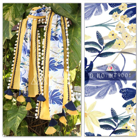 Pale Yellow And Indigo Blue Color Pure Khadi And Printed Poly Stole - MFA9001