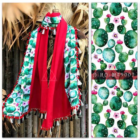 Red And Green Color Pure Khadi And Printed Poly Stole - MFA9002