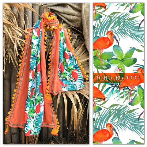 Orange Color Pure Khadi And Printed Poly Stole - MFA9004