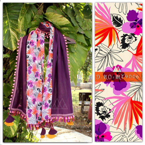 Multi Color Pure Khadi And Printed Poly Stole - MFA9006
