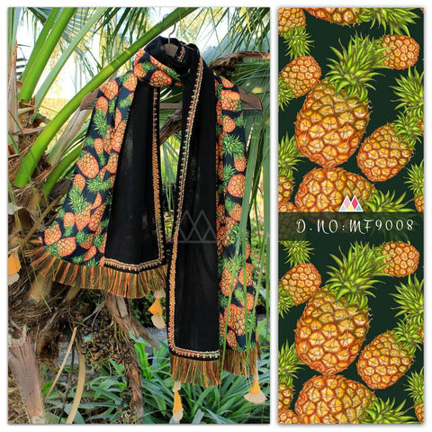 Black Color Pure Khadi And Printed Poly Stole - MFA9008