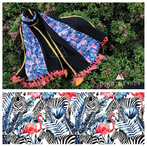 Black  Color Pure Khadi And Printed Poly Stole - MFA9009