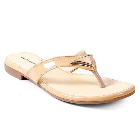 MERIGGIARE Nude Color Synthetic Leather Women Flat Sandals - MGFJ5124D