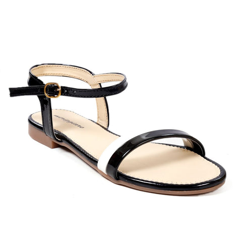 MERIGGIARE Black Color Synthetic Leather Women Flat Sandals - MGFJ5126A