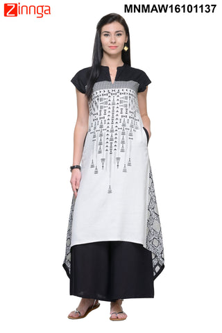 Black and White Rayon Color Stitched Kurti - MNMAW16101137