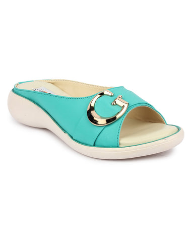 MONAQI Green Color Synthetic Women Flats - MWF-GB-GREEN