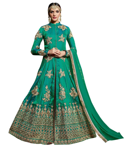 Teal Green Color Sulthani Silk Un Stitched Salwar - Maheera-24341