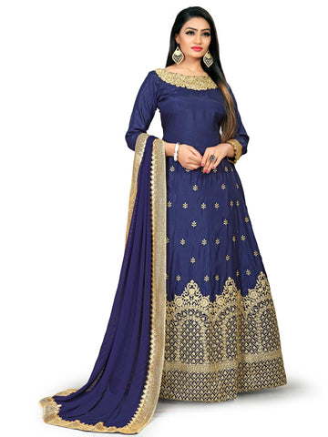 Blue Color Banglory Silk Women's Semi Stitched Gown - NMSCGWA2002