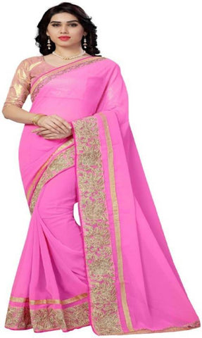 Baby Pink Color Spray Nylon Mono Net And Nylon Mono Net Saree - NX61