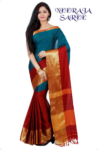 Ananda and Red Color Cotton Masaraised Saree - Neeraja-001