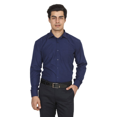Navy Blue Color Cotton Blend Slim Fit Shirts - NevyBlue-shirtsNew