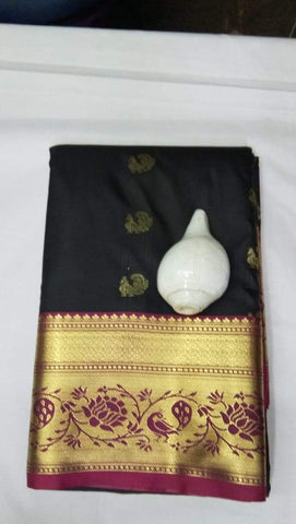 Black and Maroon Color ArtSilk Saree - PECOCKBLACK001