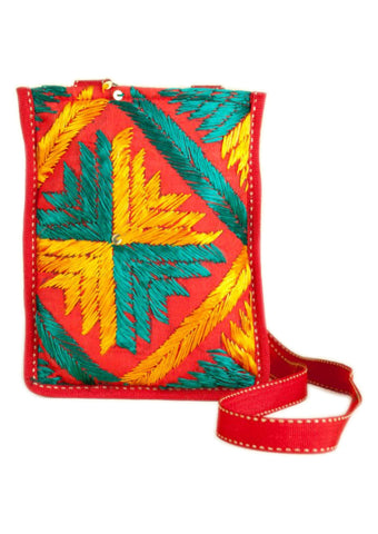 Red  with Multi Color Silk Thread  Hand Bag - PH016