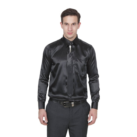 Black Color Cotton Blend Slim Fit Shirts - Party-black