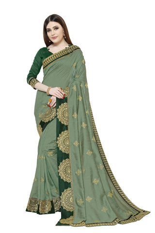 Dusty Green Color Vichitra Art Silk Saree - Pushpam-401