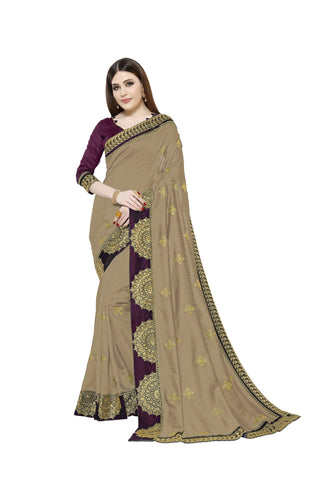 Dusty Chocolate Color Vichitra Art Silk Saree - Pushpam-402