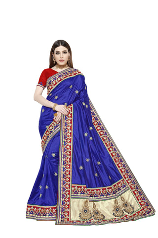 Blue Color Sana Art Silk Saree - Pushpam-403