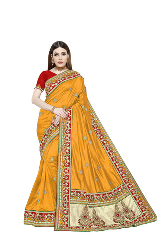 Yellow Color Sana Art Silk Saree - Pushpam-404