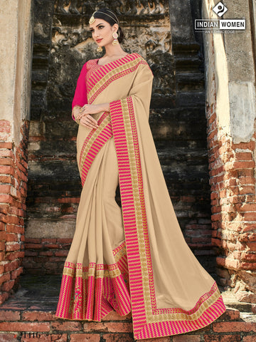 Beige Color Two Tone Silk Saree - RA21416