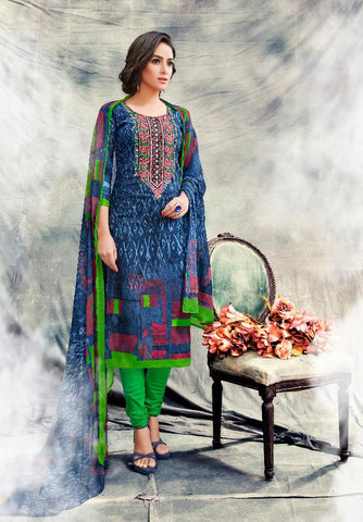 Multi Color Premium Lawn Cotton UnStitched Salwar - RJKFXSAK1004