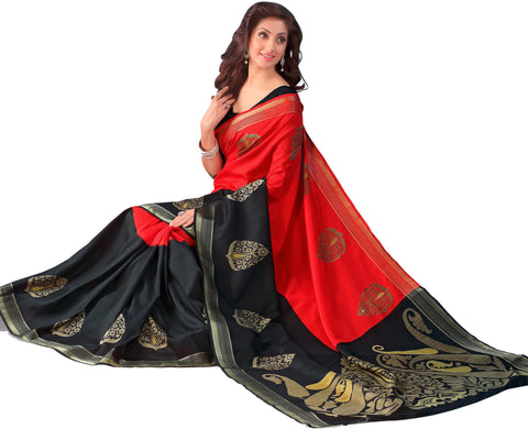 Black and Red Color Bhagalpuri Silk Saree - RT-BGP036