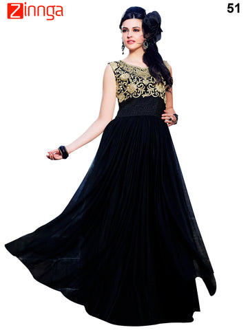 Black Color Rasal Net Stylus Semi Stitched Gown - 51