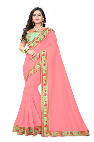 Pink Color Vichitra Art Silk Saree - Ranisaa-101