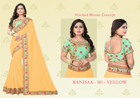 Yellow Color Vichitra Art Silk Saree - Ranisaa-104