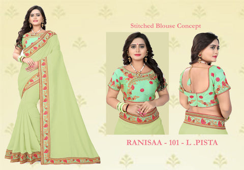 Pista Color Vichitra Art Silk Saree - Ranisaa-105