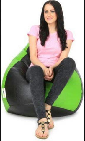 Green and Black Color Bean Bag Cover With Out Bean - RegularBeanBag-5