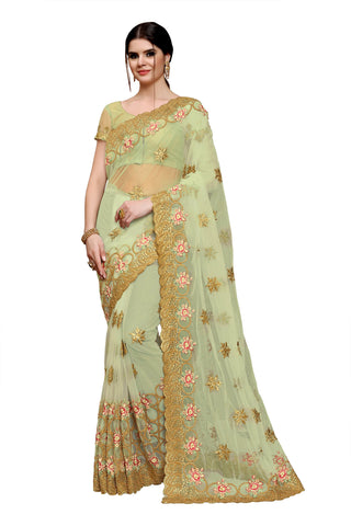 Creamish Green Color Net Saree - Rukmani-502