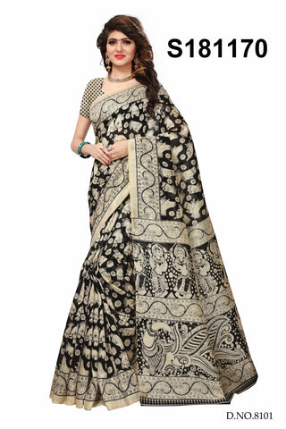 Black And Cream Color Bhagalpuri Silk Saree - S181170