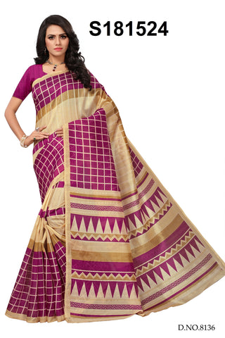 Magenta And Beige Color Bhagalpuri Silk Saree - S181524