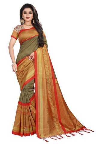 Black And Orange Color Mysure Kalamkari Silk Saree - S182172