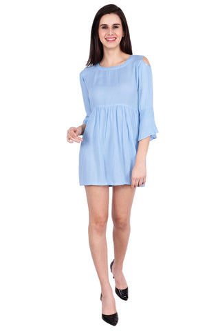 Blue Color Rayon Stitched Dress  - SBOF-5254-Blue