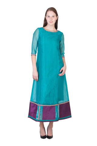 Teal Green Color Organza ReadyMade Dress  - SC-DRESS23