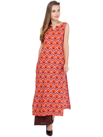 Orange and Mix Brown Color Crepe Stitched Kurti - SC-KRT-1714