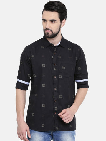Black Color Cotton Linen Men's Printed Shirt - SC459C