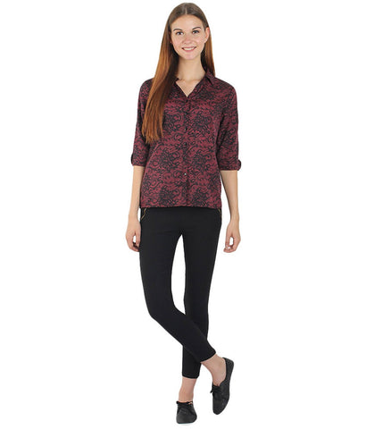 Maroon and Black Color Polyster Women Shirt - SFSHRTRDBLK518