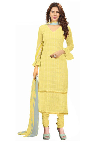 Yellow Color Georgette Salwar  - SFST-KMIXBRCRHI41008