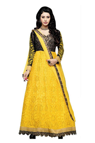 Yellow Color Net and Chiffon Salwar - SFST-KMIXKCKSP35003