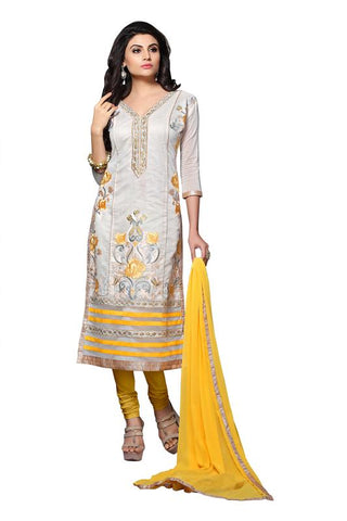 White  Color Chanderi Un Stitched Salwar - SFST-MSMSYA1106