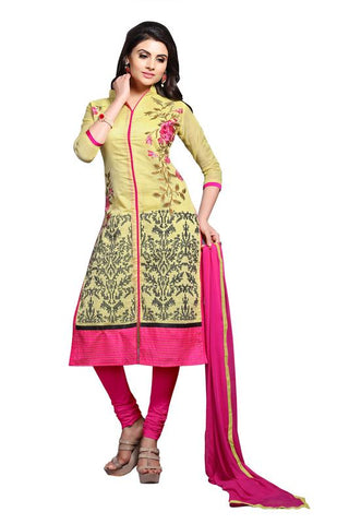 Yellow  Color Chanderi Un Stitched Salwar - SFST-MSMSYA1107