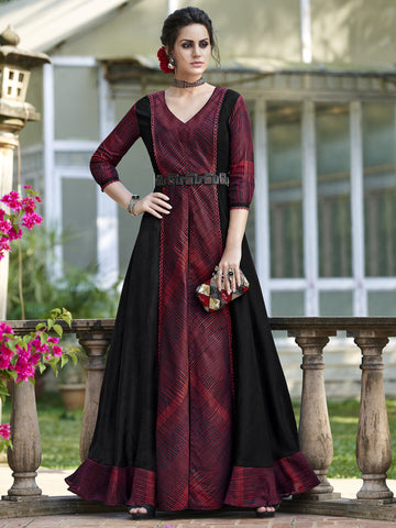 Maroon Color Tussar Silk Semi Stitched Gown - SLS-1964