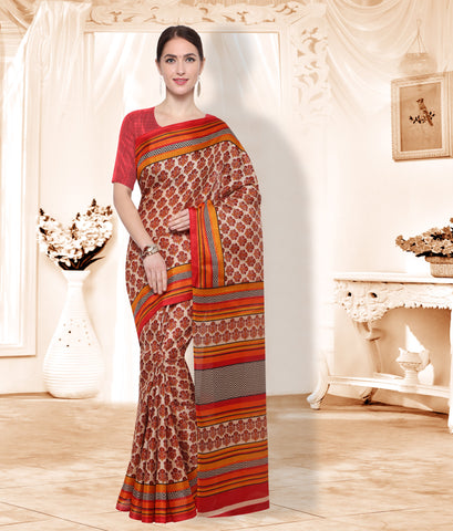 Beige and Red Color  ArtSilk Saree - SM102B