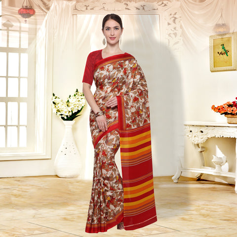 Beige and Red Color  PolyCrepe Saree - SM105A