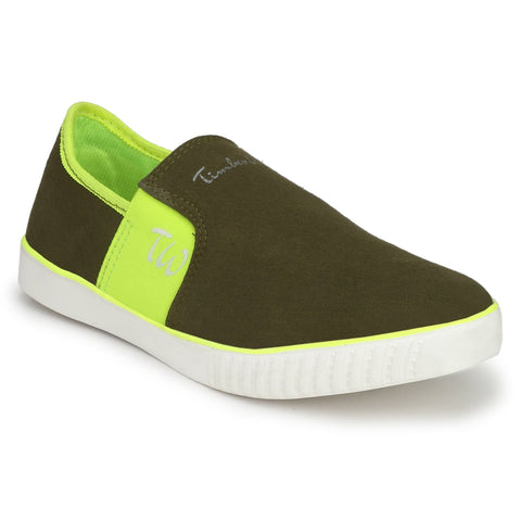 Green Color Canvas Men Slpon Sneaker - SN-GRN-MGNTA