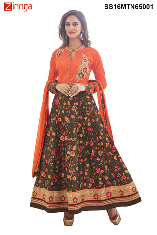Orange  and Multi Color Bhagalpuri Print Semstitched  Salwar - SS16MTN65001
